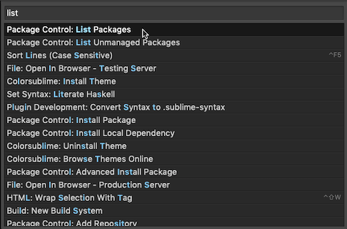 """Click """"Package Control: List Package"""""""