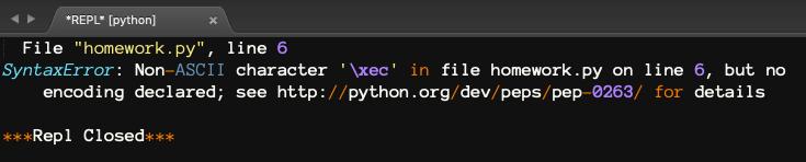 Ex) Python3 error in sublimeREPL