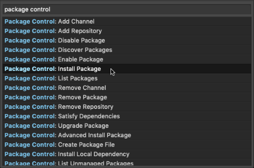 click Package Control: Install Package in command palette
